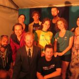 Cast of Rap News Live before first show at Woodford Folk Festival - with MCs Mantra and Jeremedy